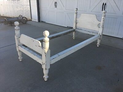 Early Aafa Antique Folk Art Wooden Wood Rope Bed Original Paint White Twin Bed