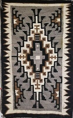 """Vintage Native American Navajo Hand Woven authentic Rug 39.5"""" by 64"""""""