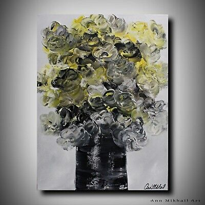 Abstract Oil Painting Black White Yellow Flowers Vase 18 by 24 Art Ann Mikhail
