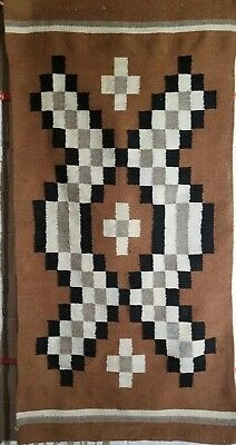 """Vintage Native American Navajo Hand Woven authentic Rug 29"""" by 59"""""""