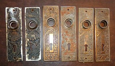6 Vintage Ornate Metal Door Knob Face Back Plates Art Deco Victorian Eastlake?