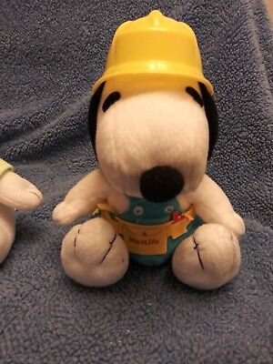 Peanuts Snoopy Plush Lot of 2 Met Life Golfer + Construction Worker theme - used