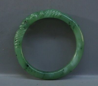 Chinese Exquisite Hand-carved cicada carving natural Hetian jade bracelet