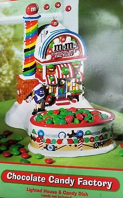 Department 56 M&M Lighted House and Candy Dish - Chocolate Candy Factory