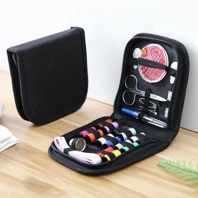10Pcs Travel home sewing kit case needle thread tape scissor set handcraft E&F