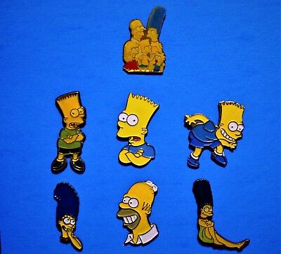 Simpsons - Bart Simpson - Homer - Marge - 7 Vintage Lapel Pins Lot - Hat Pin