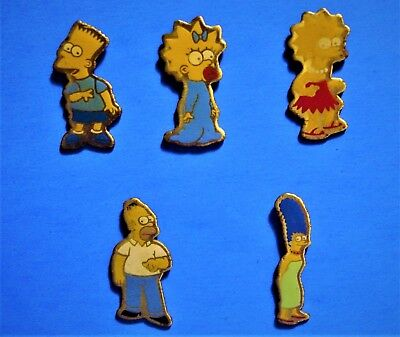 Simpsons Family - Bart Simpson - Homer - 5 Vintage Thin Lapel Pins Lot - Hat Pin