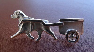Sterling Silver Rottweiler Pulling Cart Lapel Pin