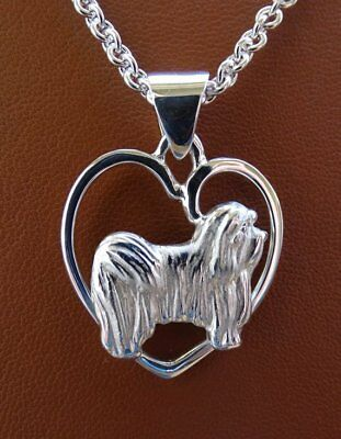 Small Sterling Silver Havanese Standing Study On A Heart Pendant