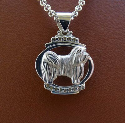 Small Sterling Silver Havanese Standing Study On A Oval frame Pendant
