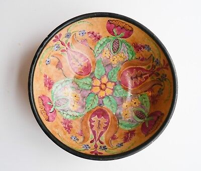 Antique American Pottery Bowl 1929 Hand Painted Yellow Ware