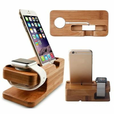 Bamboo Wood Charging Station Dock Holder Watch Iphone Apple Charger Base Stand