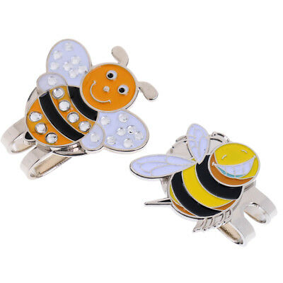 2x Alloy Hat Clip with Magnetic Golf Ball Marker Funny Bee Pattern Hat Decor