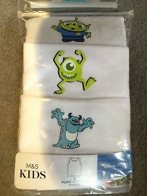 M&S PACK OF 3 DISNEY VESTS IN WHITE WITH PICTURES IN COTTON - AGE 5-6y - BNWT