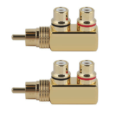 2PCS Audio Video Signal RCA Adapter Splitter Connector 1 Male Plug to 2 Female