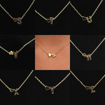 UK Alphabet Letter Initial Pendant Love Chain Necklace Gold Silver Plated A to Z