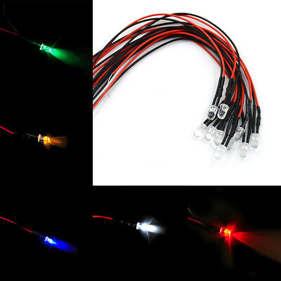 12V 5MM LED Diode Light Clear 20cm Cable Pre-Wired With Plastic Holder IU