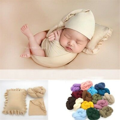Newborn Baby Photography Props Shooting Pillow+ Hat+Wraps Infant Studio Shoot