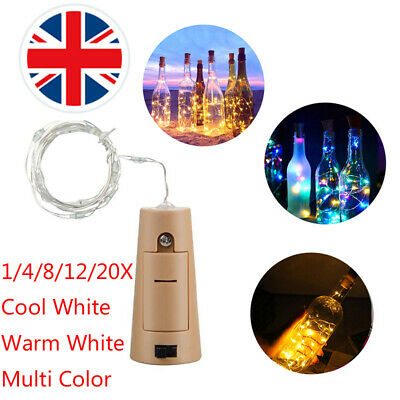 1-12 PCS Wine Bottle Fairy String Light 2M 20 LED Cork Starry Xmas Wedding UK