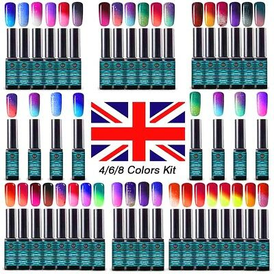 Gel Nail Polish Varnish UV Soak Off Manicure Thermal Color-Changing 6 Colors Set