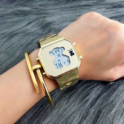 Men Women Bear Watch Digital Luxury Stainless Steel LED Cute Fashion Wristwatch