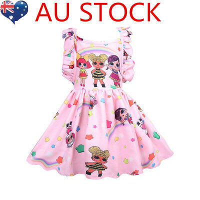 Girl Lol Surprise Doll Princess Dress Girls Party Xmas Birthday Holiday Dress AU