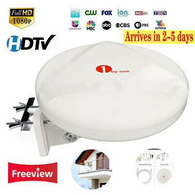 1Byone Outdoor HD TV Amplified Antenna Digital FM/VHF/UHF 60 Miles New Concept