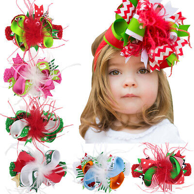 Kids Baby Girl Christmas Headband Feather Big Bow Hair Band Headwear Accessories