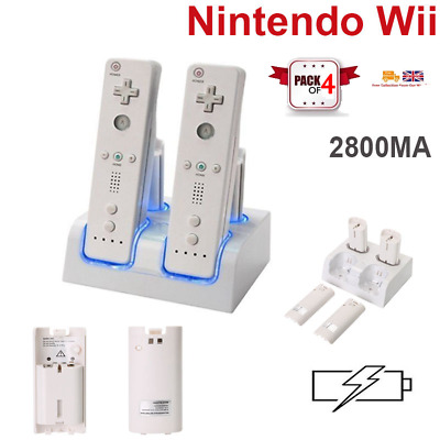 Dual Dock Station Charger 4PCS Rechargeable Battery For Wii Remote Controller UK