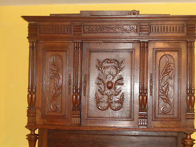 Beautiful Ornate French Oak Buffet Antique Vintage Sideboard