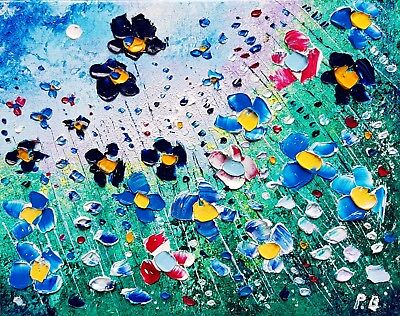 Blue Meadow Flowers in Love, an original oil painting on canvas, by Phil Broad
