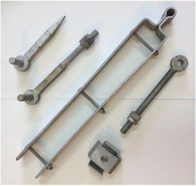24'' Adjustable Hinge Set Double Strap Field / Driveway / Farm Gate - Galvanised