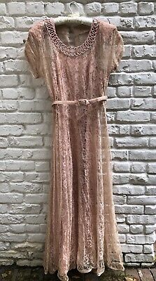 Beautiful Vintage 1930s/40s Peach Lace Overlay Dress with Slip, Great Details!