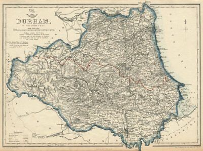 DURHAM. Sunderland Hartlepool. Antique county map. Railways. DOWER 1863