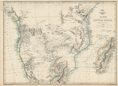 SOUTH CENTRAL AFRICA. Shows Zambesi river as circular! WELLER 1863 old map