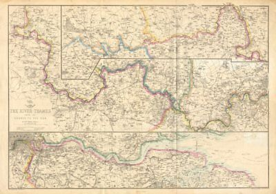 'THE RIVER THAMES FROM ITS SOURCE TO THE SEA'. Thames Valley. WELLER c1863 map