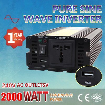 PURE SINE WAVE Power Inverter 2000W - 4000W DC12V to AC240V Converter Charge DP