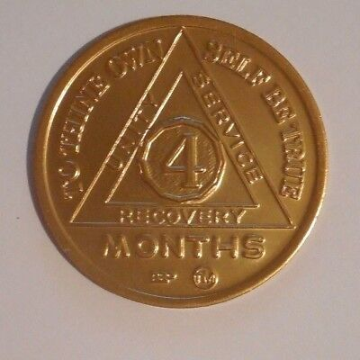aa aluminum alcoholics anonymous 4 month sobriety chip coin token medallion