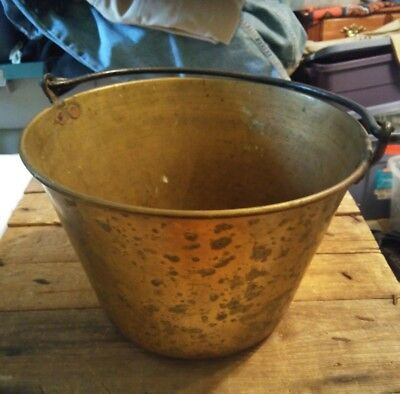 "Antique / Vintage Heavy Solid Brass Bucket Pail w/ Handle 12x8x8.5"" VGC {010"