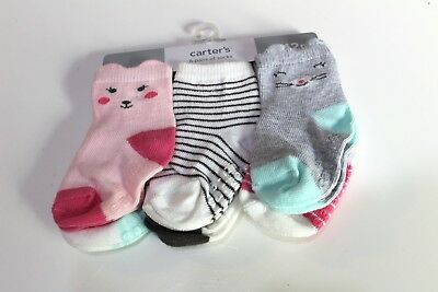 Carters Infant Girls/' 2-Pack of Cat Face Socks /& 3-Pack Floral//Strawberries NWT