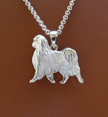 Large Sterling Silver Large Japanese Chin Moving Study Pendant