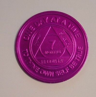 aa  alcoholics anonymous aluminum 7 month recovery sobriety coin token medallion