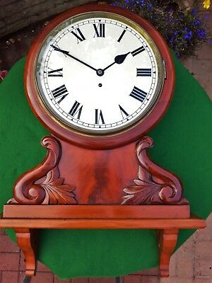 #064 ANTIQUE EARLY 1900s MAHOGANY WALL CLOCK WITH AN 8-DAY WIRE FUSEE MOVEMENT