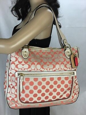COACH POPPY PHONE Bag Universal Signature Khaki Pink Trim Wristlet ... 7c46b19038f29
