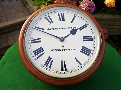 #065 Antique Mahogany Arighi Bianchi & Co. Macclesfield Fusee Dial Wall Clock
