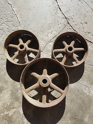 3 Steel Wagon Wheels, Factory Cart, Garden/ Pumpkin Wagon - Steampunk - Vintage