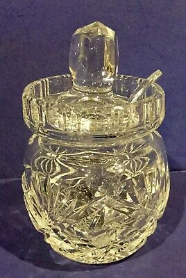 Vintage American Brilliant Cut Glass Jam Honey Condiment Lidded Jar With Spoon