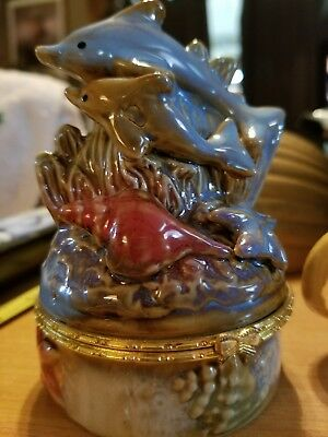 Dolphin Mother and Baby Ocean Seashell Trinket Box