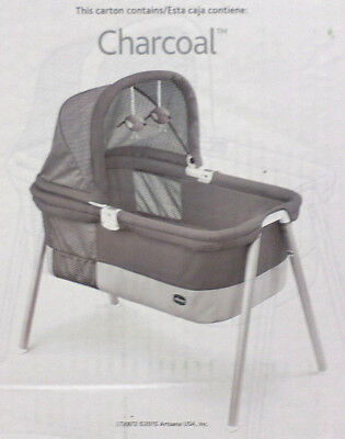 Chicco Portable Bassinet LullaGo Deluxe 2 Position Foldable Canopy Charcoal Grey