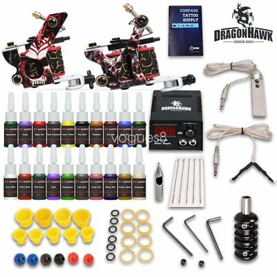 Complete Tattoo Kit needles 2 Machine Gun Power Supply 7 Color Ink Tip D175FG